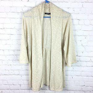 Style Co Womens Tan Open Front Cardigan 3/4 Sleeve